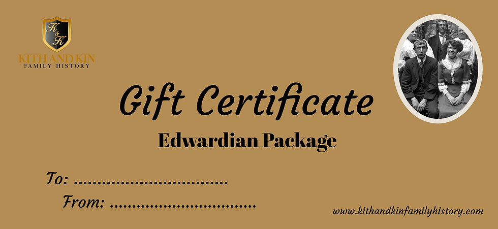 Gift Certificate for Edwardian Package (One Family Line)