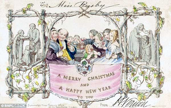 "One of the first Christmas greeting cards - One of 18 cards produced, and auctioned at Southeby's in 2010 and sold for $7000. It was produced by Sir Henry Cole. This card was sent to a ""Miss Rusby"" from a ""H. Vernon"" (Image ""Daily Mail"")"