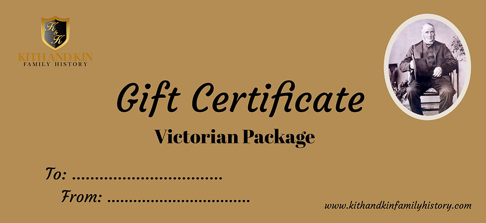 Gift Certificate for Victorian Package (Two Family Lines)