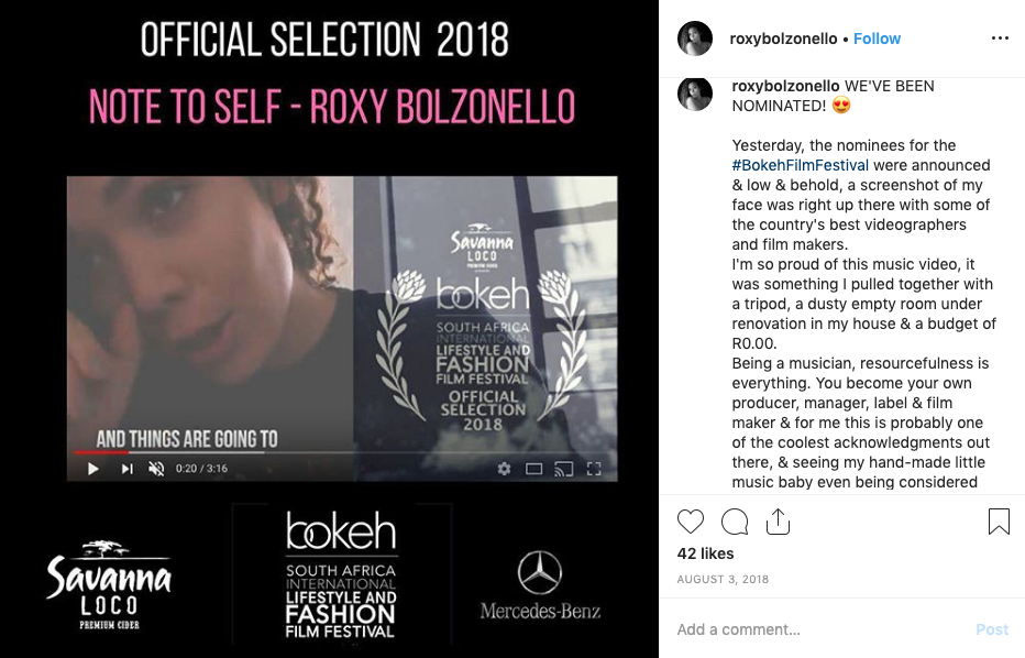 Roxy Bolzonello Award Nomination