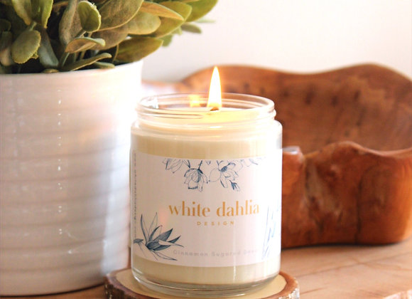 White Dahlia Design Hand Poured & Crafted Scented Candles
