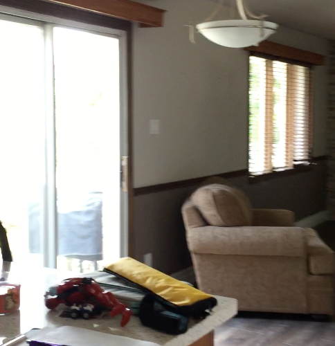 kitchen sink, patio doors leading to family room