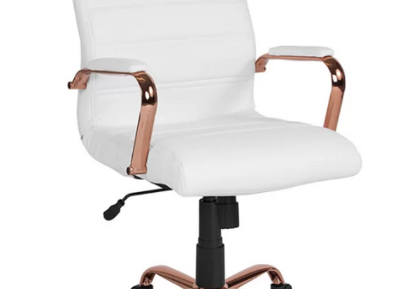 White & Rose Gold Office Chair