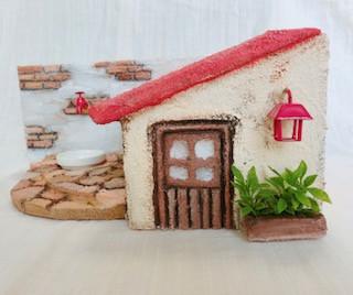 赤い屋根レンガのお庭