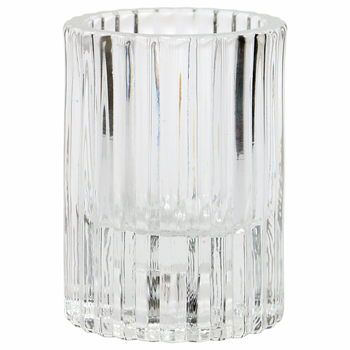 Clear Ribbed Glass Tealight