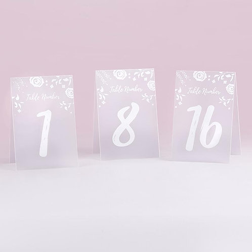 White Frosted Floral Tented Table Numbers