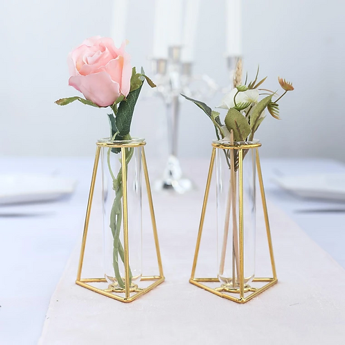Gold Test Tube Vases