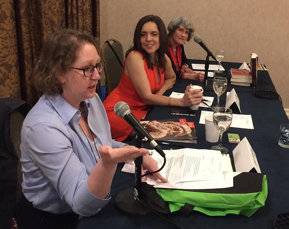 ASJA Writers Conference NYC 2017. Lisa Kosan, Jennifer Gaie Hellum, Joan Price, Rae Francoeur (not shown)