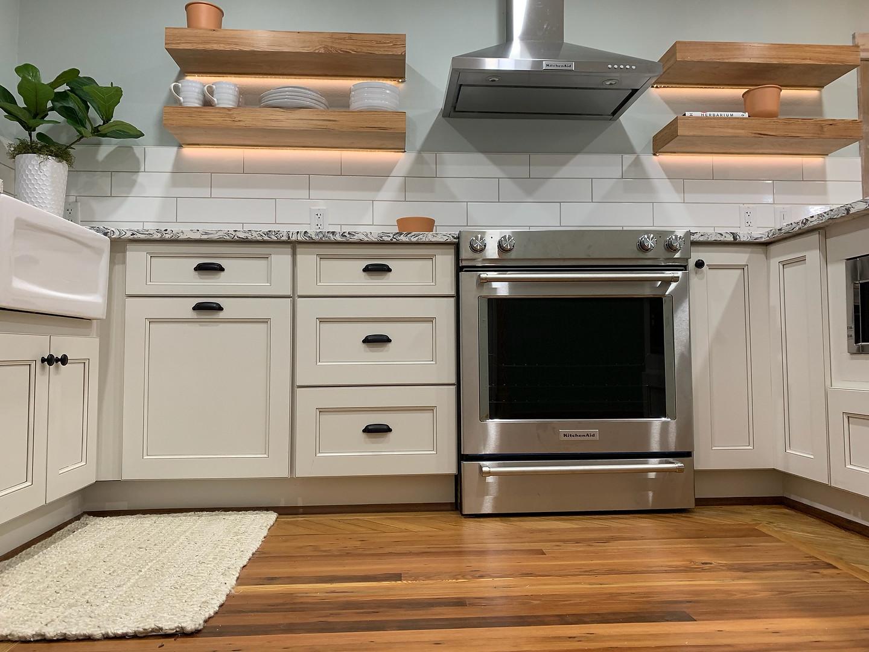 Chef's Kitchen - Underlit Shelving at Mrs. Kendrick's Cottage