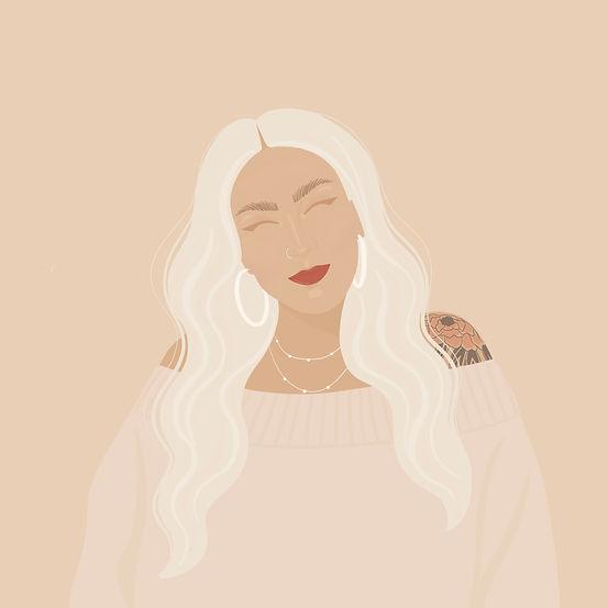 Illustration logo of blonde girl