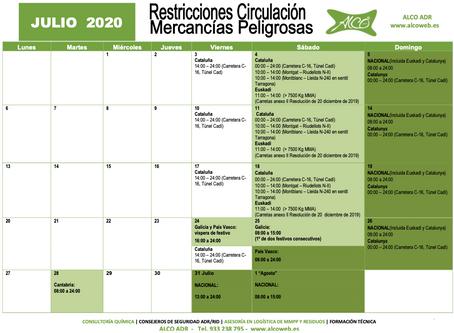 Calendario ADR Julio 2020