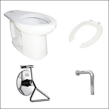 """Porcelana sanitaria y grifo de push movilidad reducida, taza, tubo en """"L"""""""