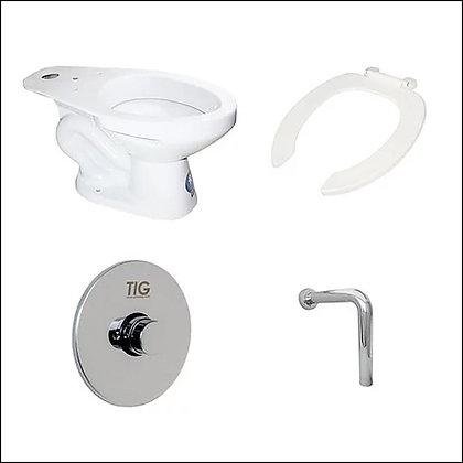 "Porcelana sanitaria, taza, grifo de push, tubo en ""L"""