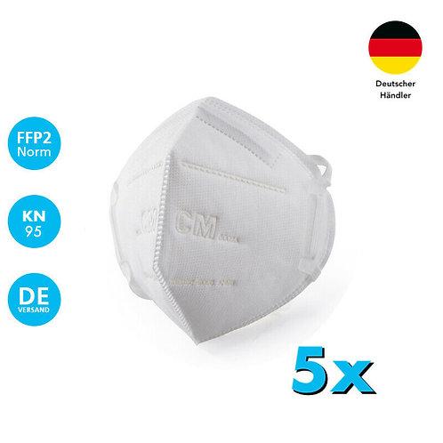 5 Stück Atemschutzmaske FFP2 Mundschutz KN95 Schutzmaske