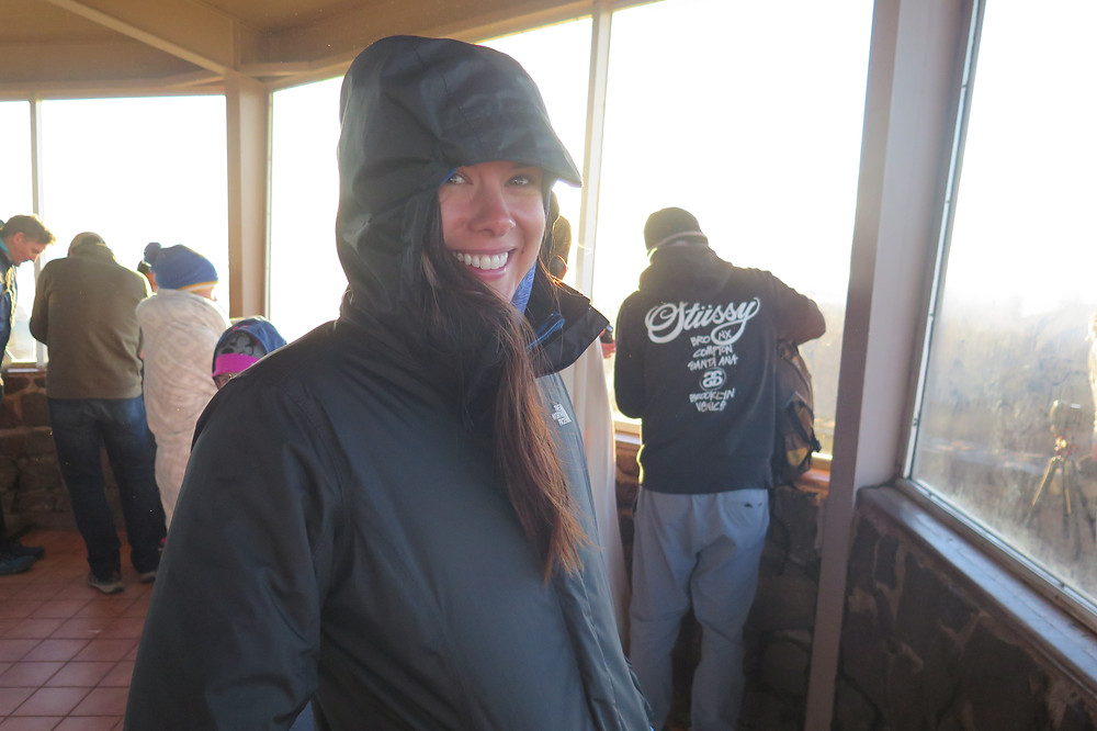 Katie at Haleakalā National Park Summit for Sunrise