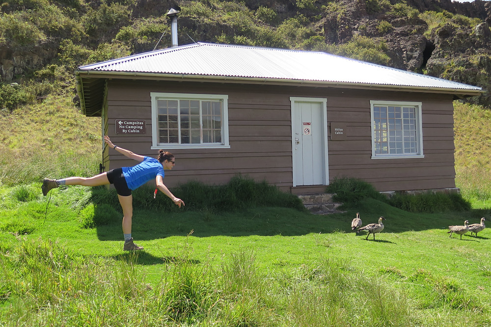 Katie impersonating a nēnē in front of the cabin