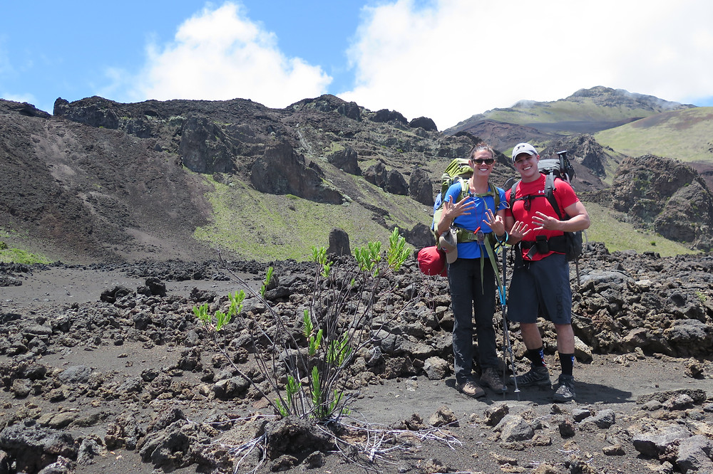 Mark and Katie hiking in Haleakalā National Park Crater
