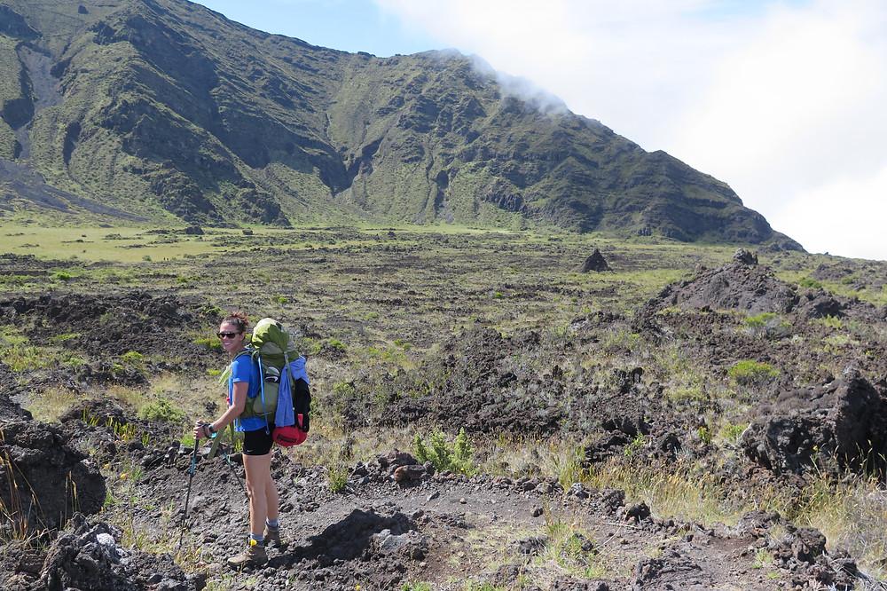 Katie hiking in Haleakalā National Park Crater