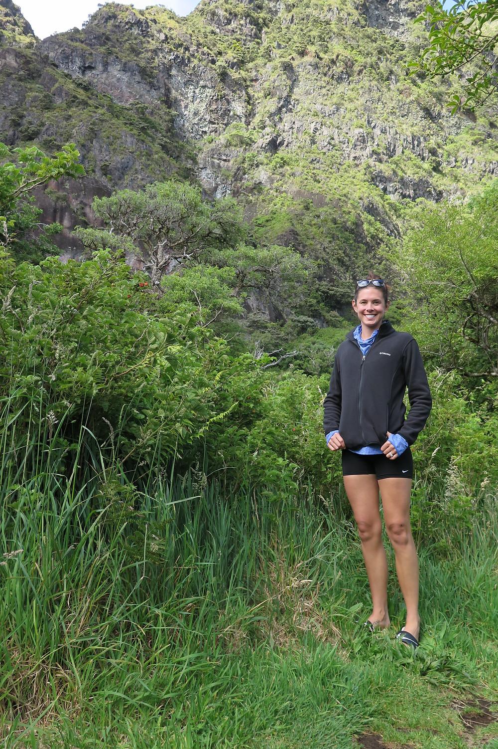 Katie exploring Palikū camp
