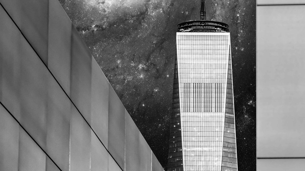 "One World Trade Center NYC & Empty Sky Memorial NJ, SDG City (44""x29"")"
