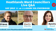 Heathlands ward councillors Q&A Sat 11th July via Facebook