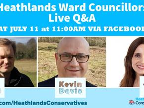 Heathlands ward councillors Q&A Sat 11th July via Facebook