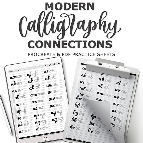 Modern Calligraphy Connections Practice Sheets (PDF & Procreate Combo)