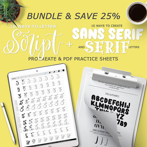 10 Ways To Letter Bundle (Script, Serif & Sans Serif Letters )