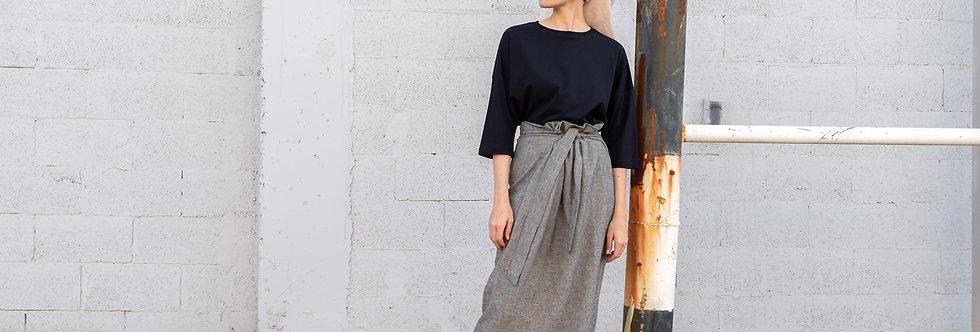חצאית פשתן קשירה - אפור מלאנז