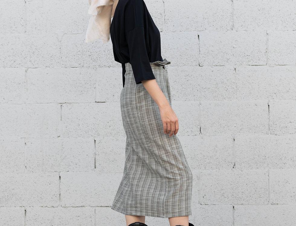 חצאית פשתן קשירה - משבצות