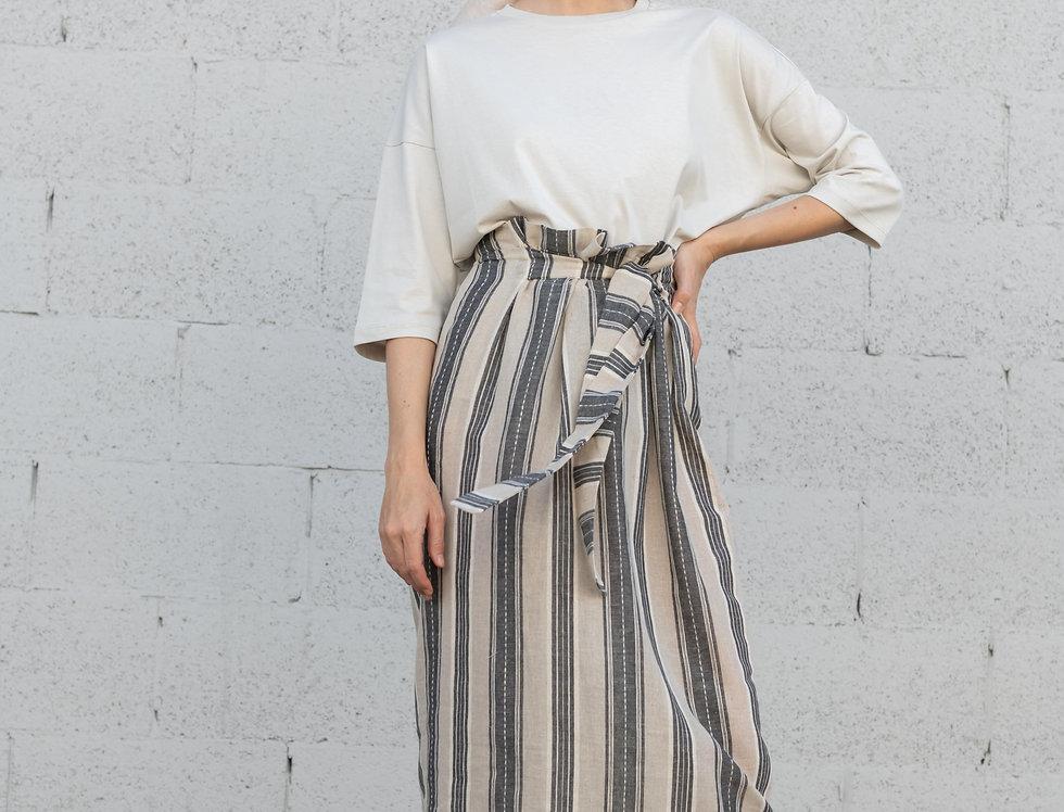 חצאית פשתן קשירה - פסים שמנת ואפור