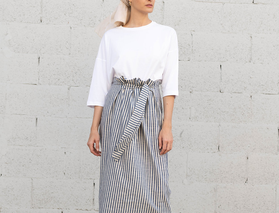 חצאית פשתן קשירה - פסים כחול שנהב