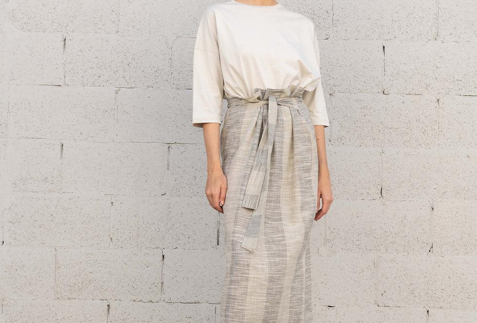חצאית פשתן קשירה - פסים בתכלת ואפור