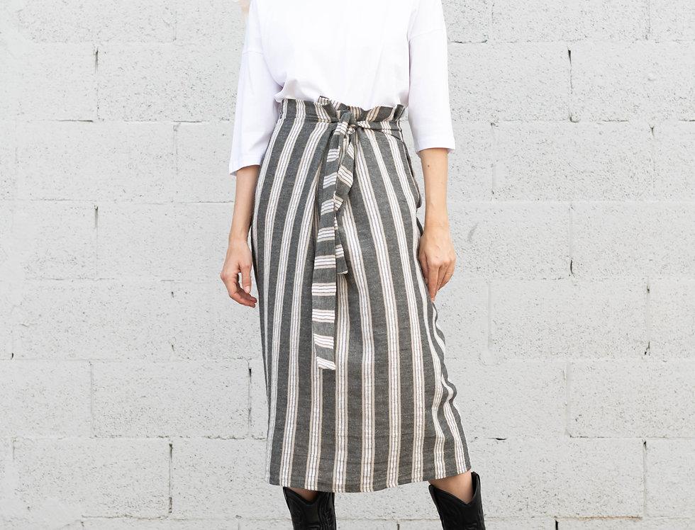 חצאית פשתן קשירה - פסים באפור
