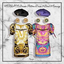 VERSACE BAROCO PATTERN DRESS & BERET & EARRING