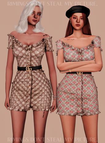 GUCCI BELT & TIGHT OFF-SHOULDER DRESS