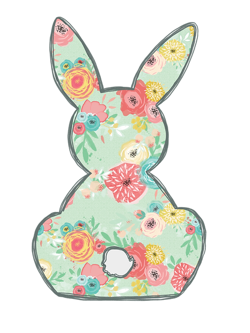Floral Bunny Transfer Sheet Adult