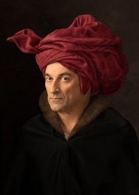 Self Portrait after Van Eyck's « Man With a Red Turban