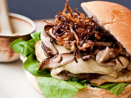 Hambúrguer com Shitake e Cebolas caramelizadas