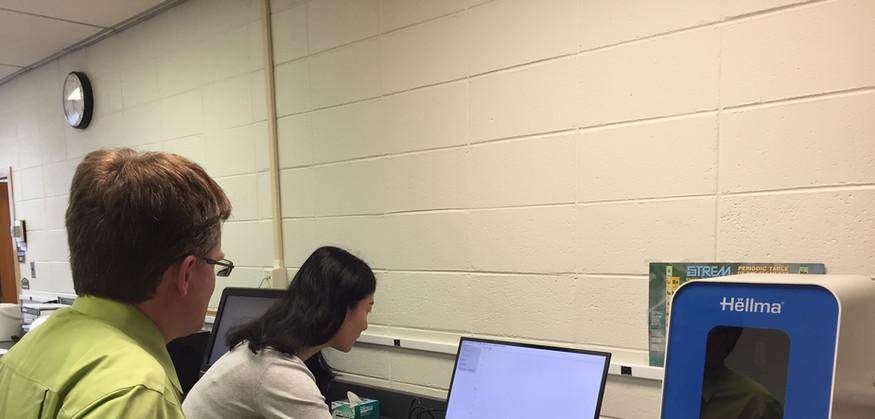 Professor Murray and Professor Zhang with Reva at Immaculata University
