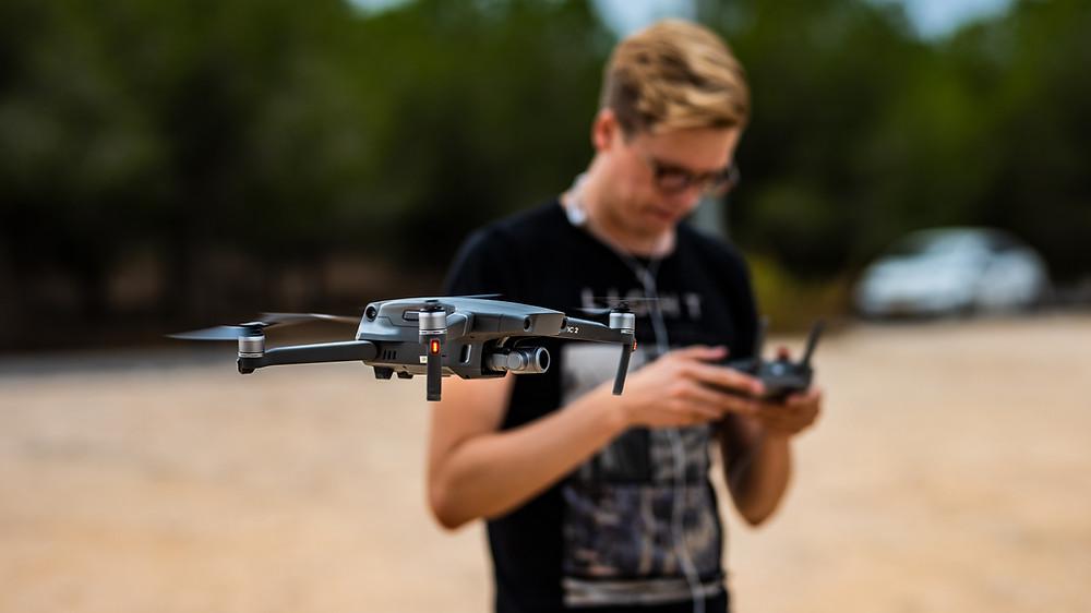 Tom Frey flying a DJI Mavic 2 Zoom Drone