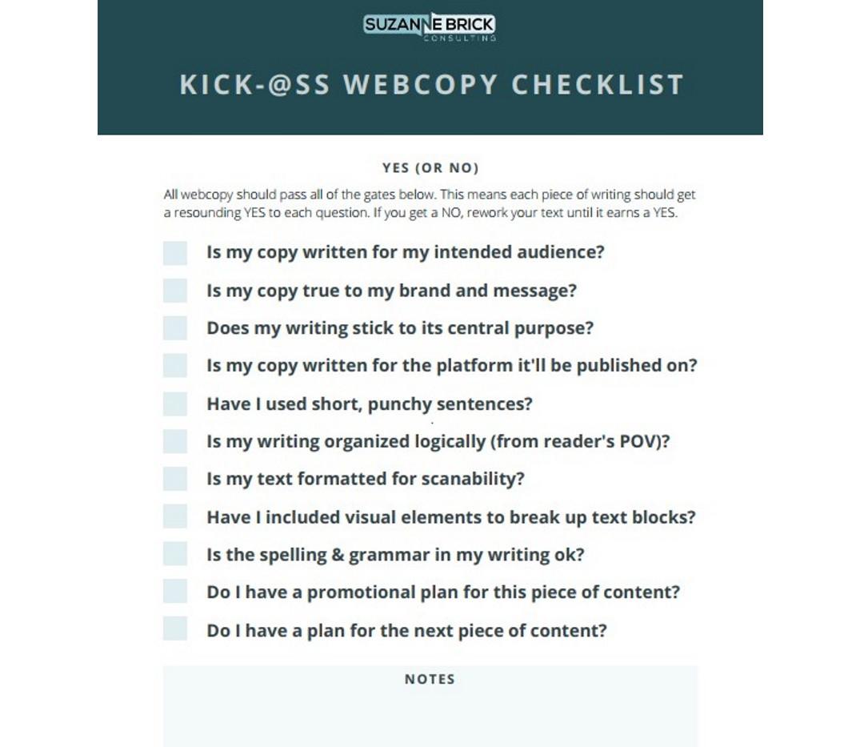 Killer Webcopy Checklist