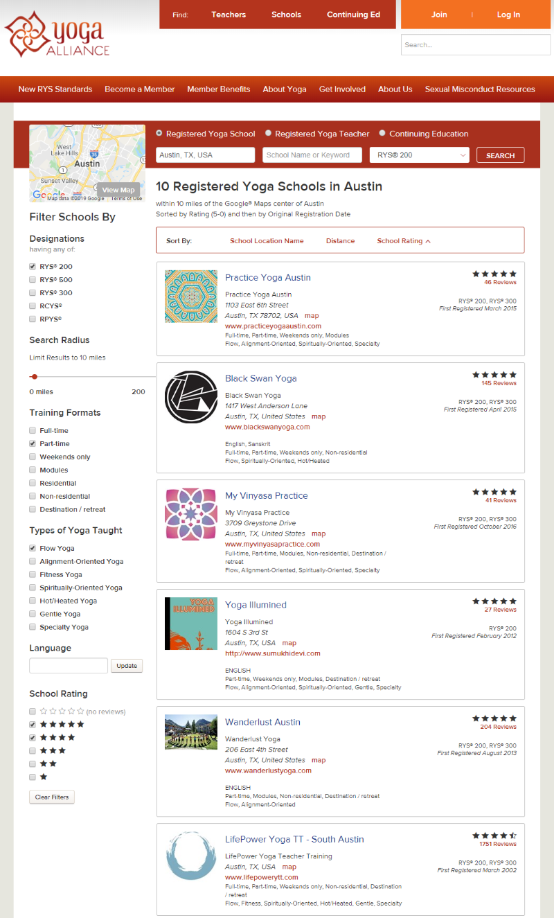 Using the search/filter options on Yoga Alliance's website, hone in on the YTTs that are a good fit for you.