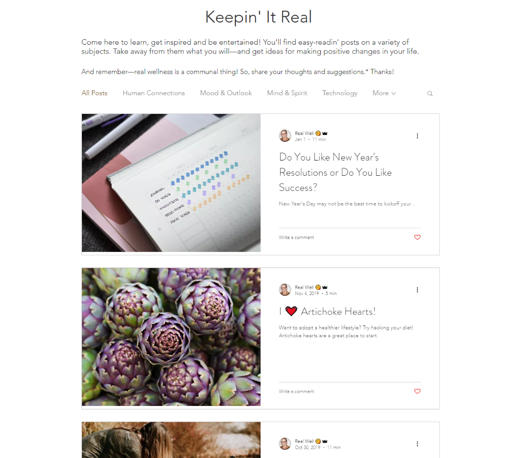 Content Sample: Keepin' It Real Blog