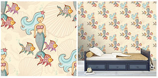 wall paper for kids with mermaids and goldfish
