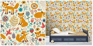 wall paper for kids with foxes and flowers