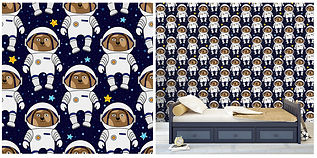 wall paper for kids with dogs astronauts
