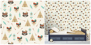 wall paper for kids with foxes raccoons tents feathers
