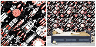 wall paper for kids rocket ships space