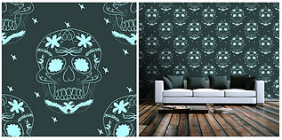 wallpaper skulls pattern